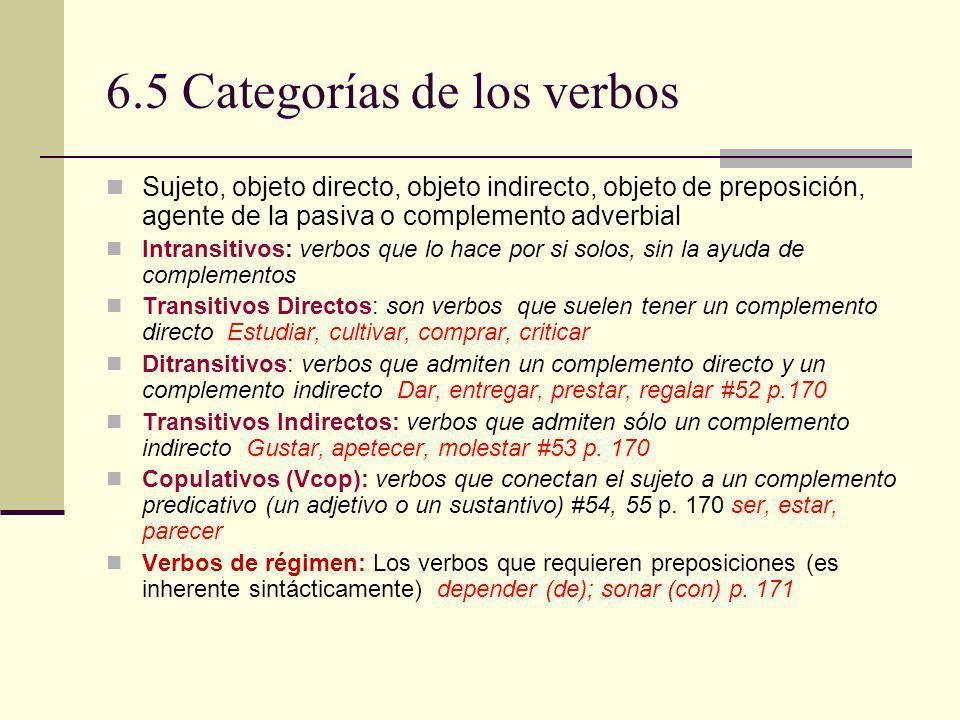 6.5 Categorías de los verbos