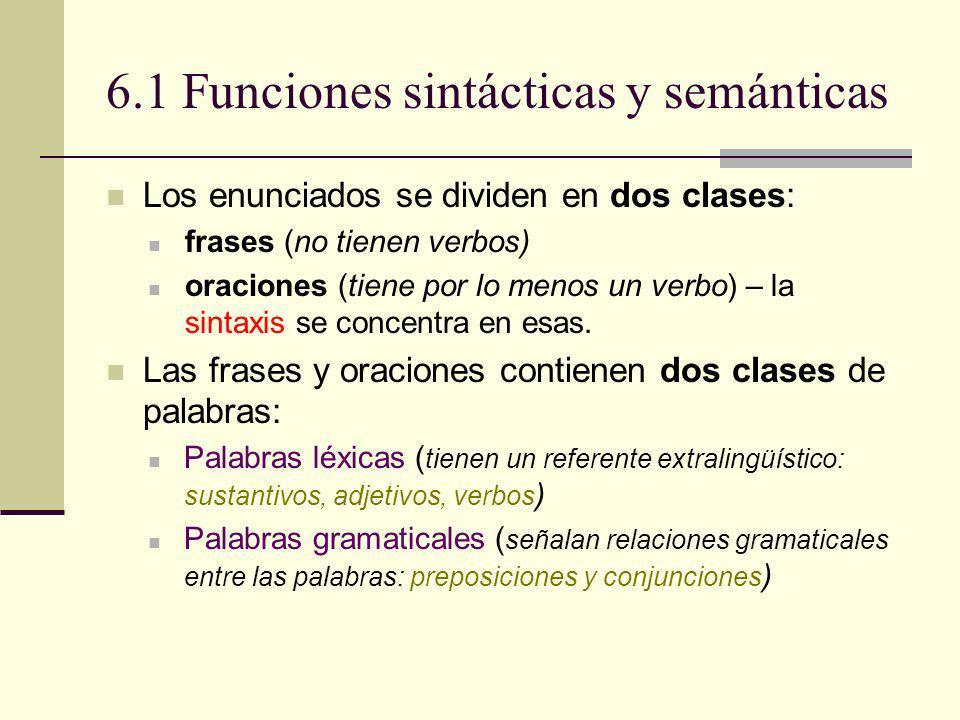 6.1 Funciones sintácticas y semánticas