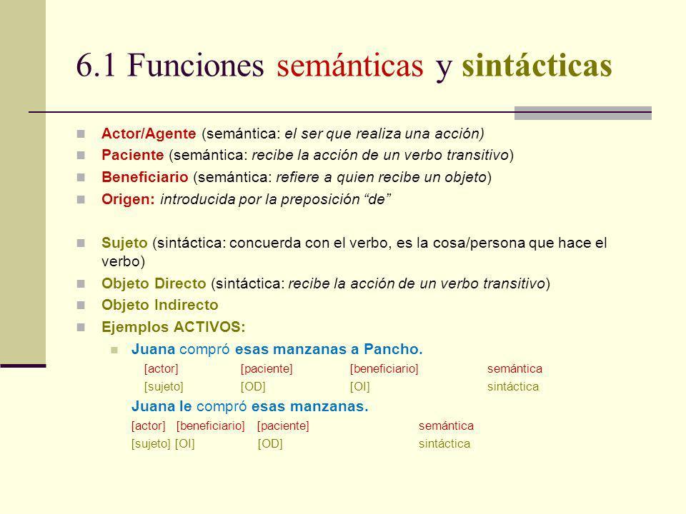 6.1 Funciones semánticas y sintácticas