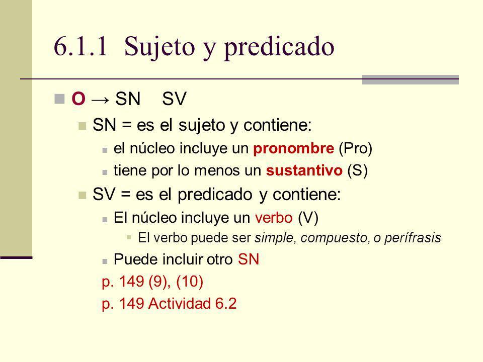 6.1.1 Sujeto y predicado O → SN SV SN = es el sujeto y contiene: