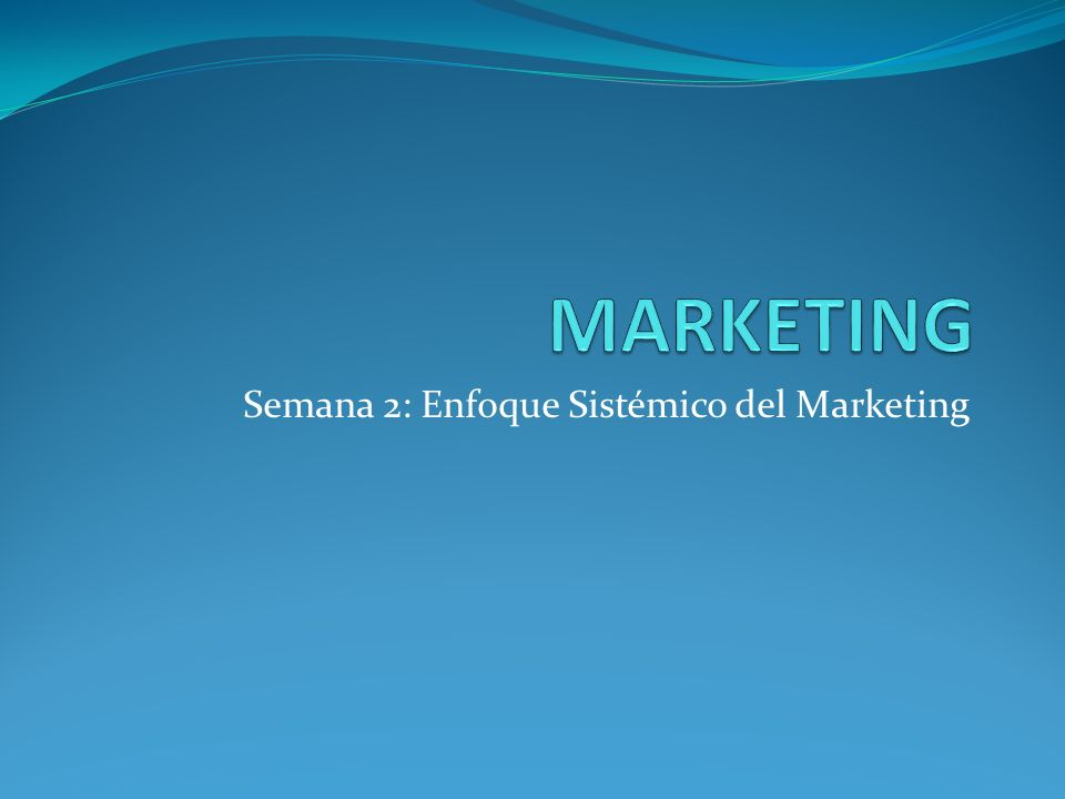Semana 2: Enfoque Sistémico del Marketing