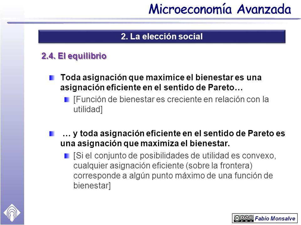 2. La elección social 2.4. El equilibrio. Toda asignación que maximice el bienestar es una asignación eficiente en el sentido de Pareto…