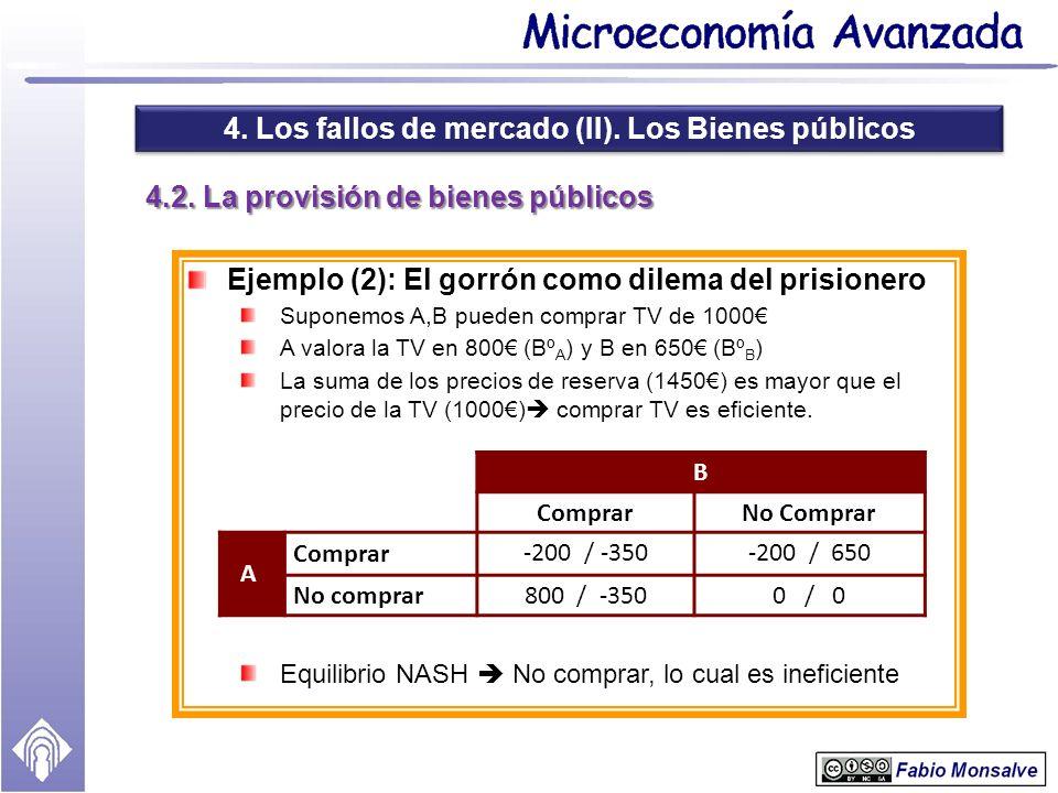4.2. La provisión de bienes públicos