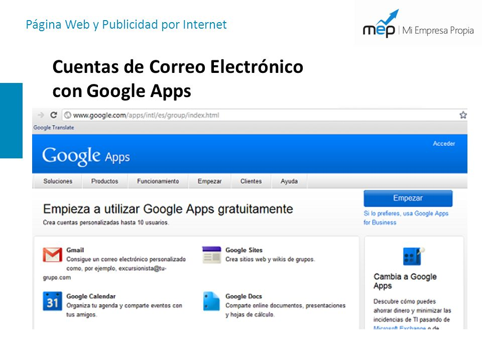 Cuentas de Correo Electrónico con Google Apps