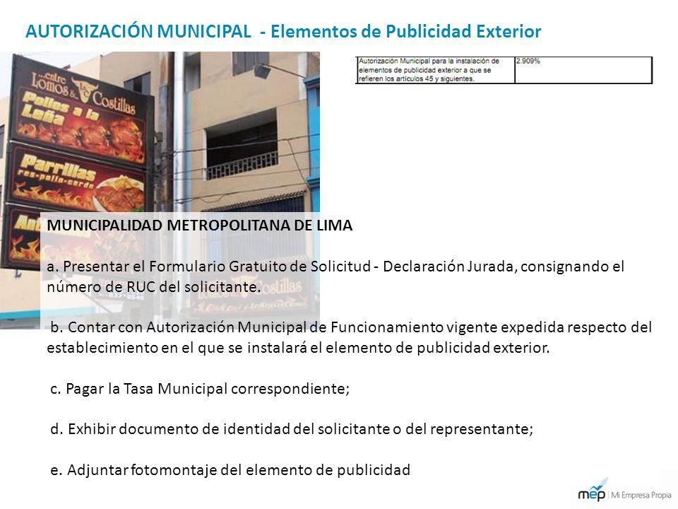 AUTORIZACIÓN MUNICIPAL - Elementos de Publicidad Exterior