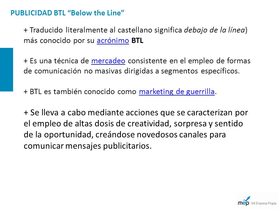 PUBLICIDAD BTL Below the Line