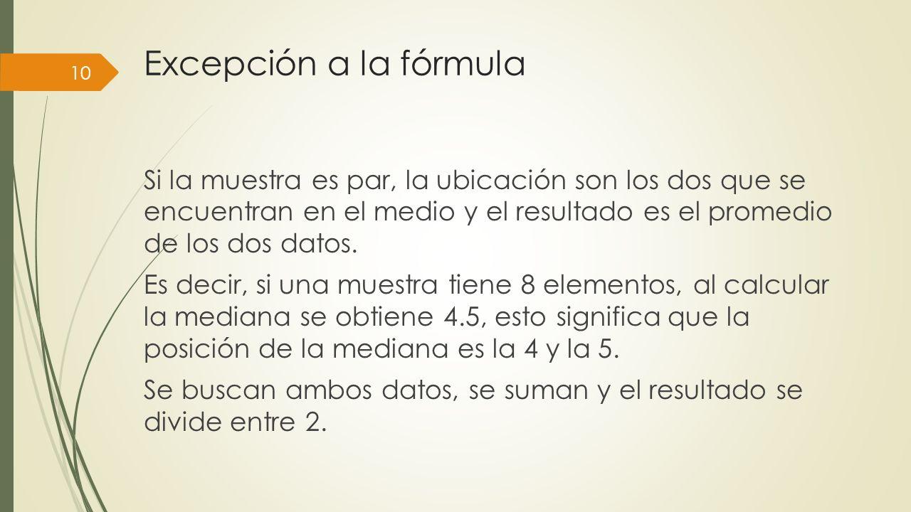 Excepción a la fórmula