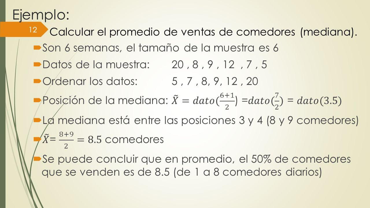 Ejemplo: Calcular el promedio de ventas de comedores (mediana).