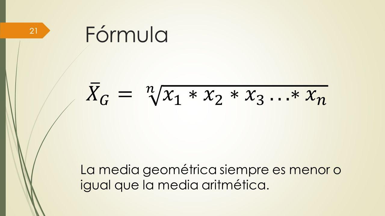Fórmula 𝑋 𝐺 = 𝑛 𝑥 1 ∗ 𝑥 2 ∗ 𝑥 3 . ∗ 𝑥 𝑛.