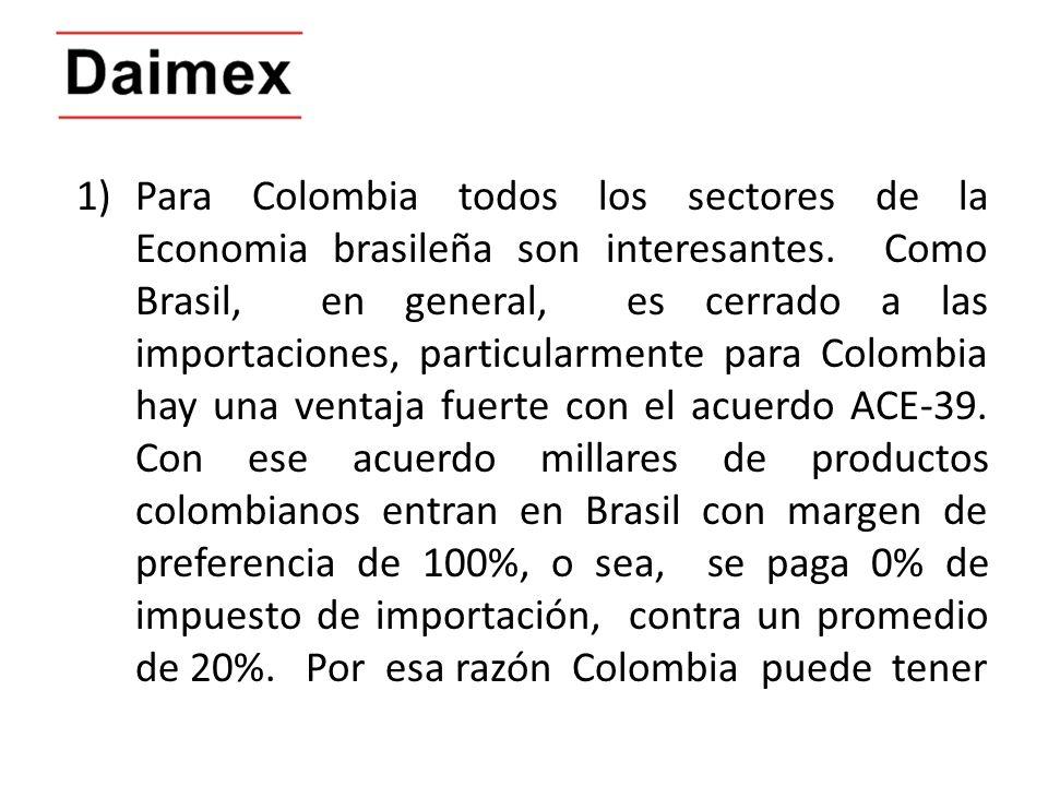 Para Colombia todos los sectores de la Economia brasileña son interesantes.