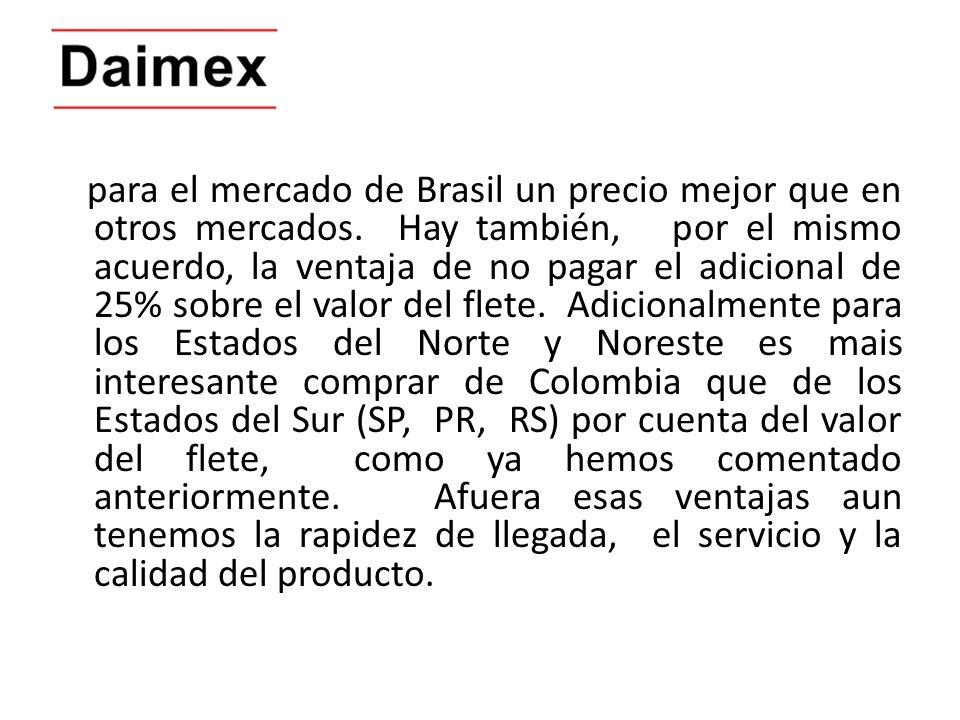 para el mercado de Brasil un precio mejor que en otros mercados