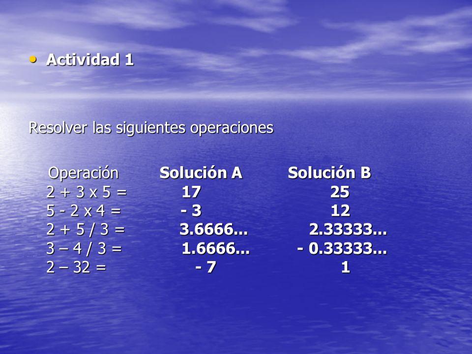 Actividad 1 Resolver las siguientes operaciones.