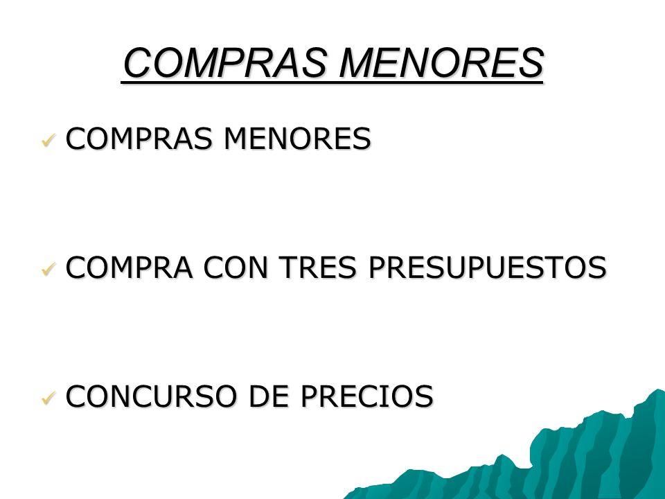COMPRAS MENORES COMPRAS MENORES COMPRA CON TRES PRESUPUESTOS