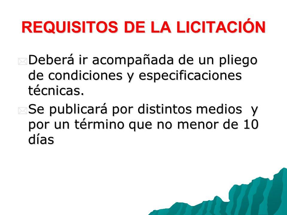 REQUISITOS DE LA LICITACIÓN