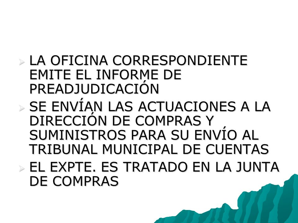 LA OFICINA CORRESPONDIENTE EMITE EL INFORME DE PREADJUDICACIÓN