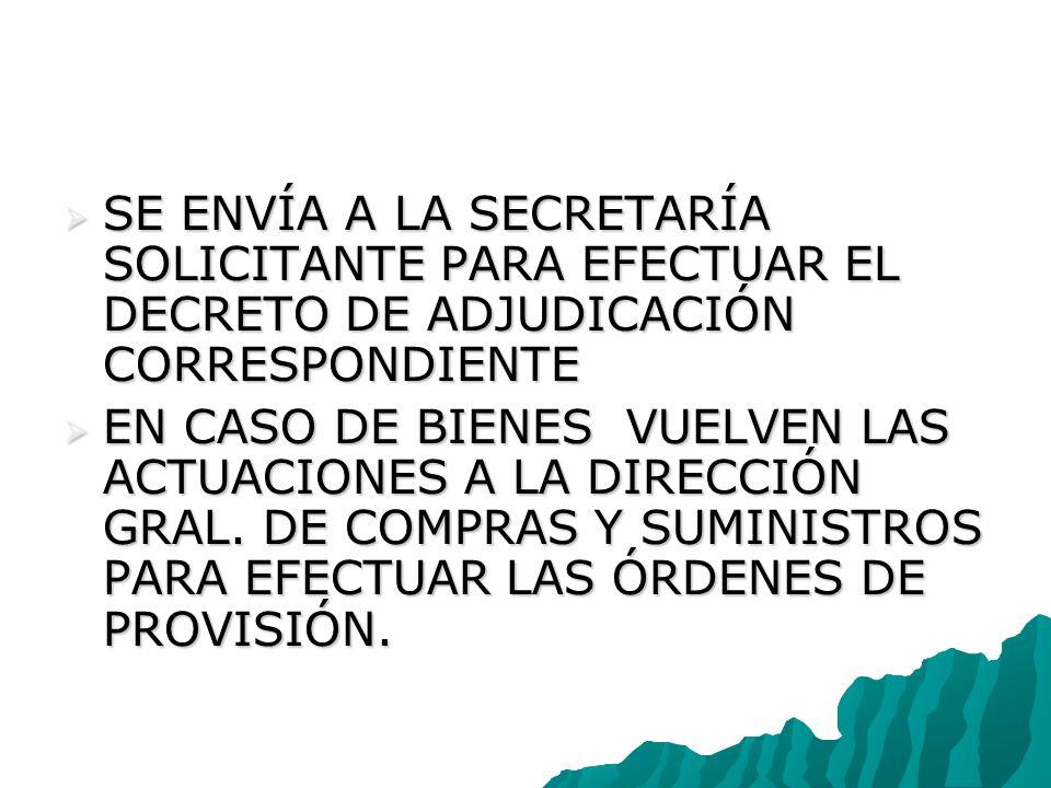 SE ENVÍA A LA SECRETARÍA SOLICITANTE PARA EFECTUAR EL DECRETO DE ADJUDICACIÓN CORRESPONDIENTE