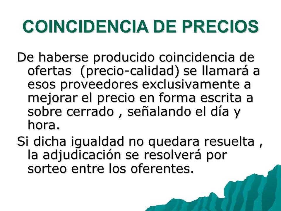 COINCIDENCIA DE PRECIOS
