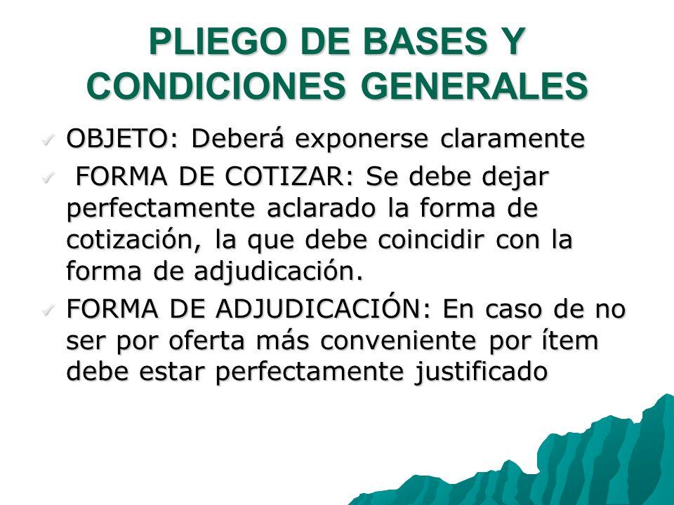 PLIEGO DE BASES Y CONDICIONES GENERALES