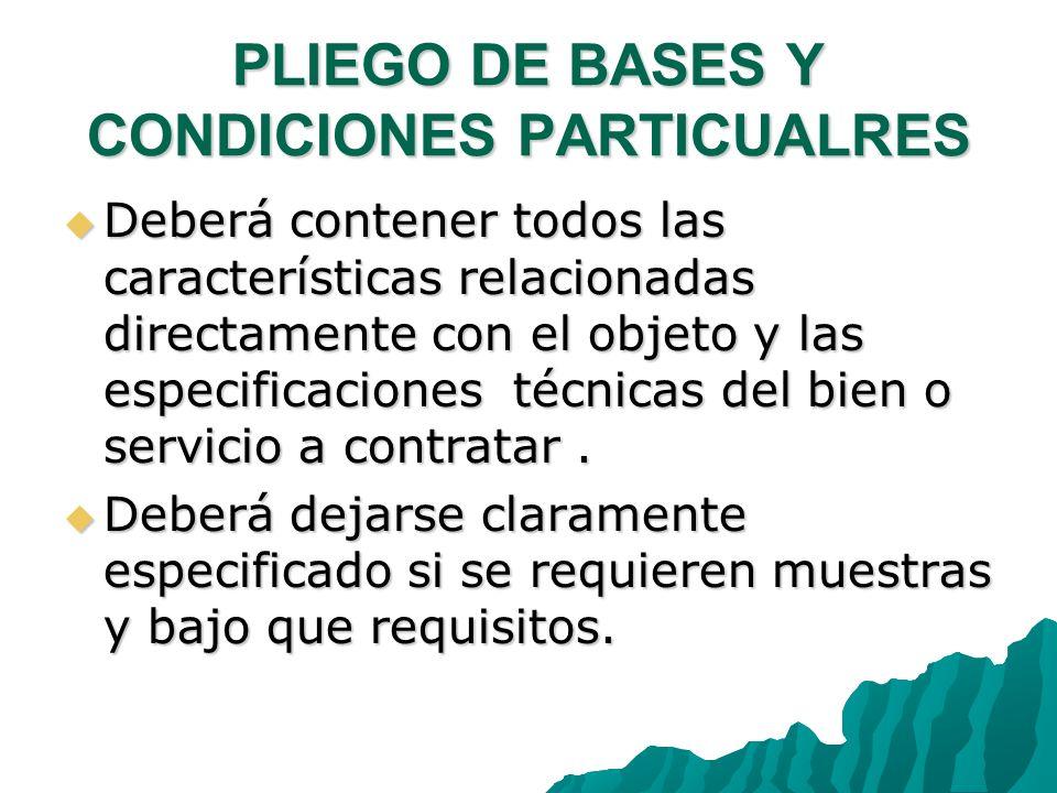 PLIEGO DE BASES Y CONDICIONES PARTICUALRES