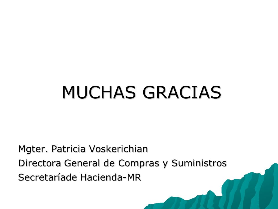 MUCHAS GRACIAS Mgter. Patricia Voskerichian