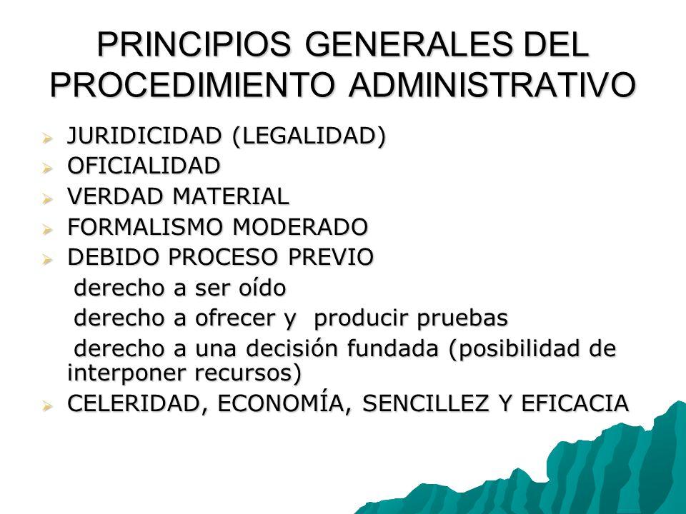 PRINCIPIOS GENERALES DEL PROCEDIMIENTO ADMINISTRATIVO