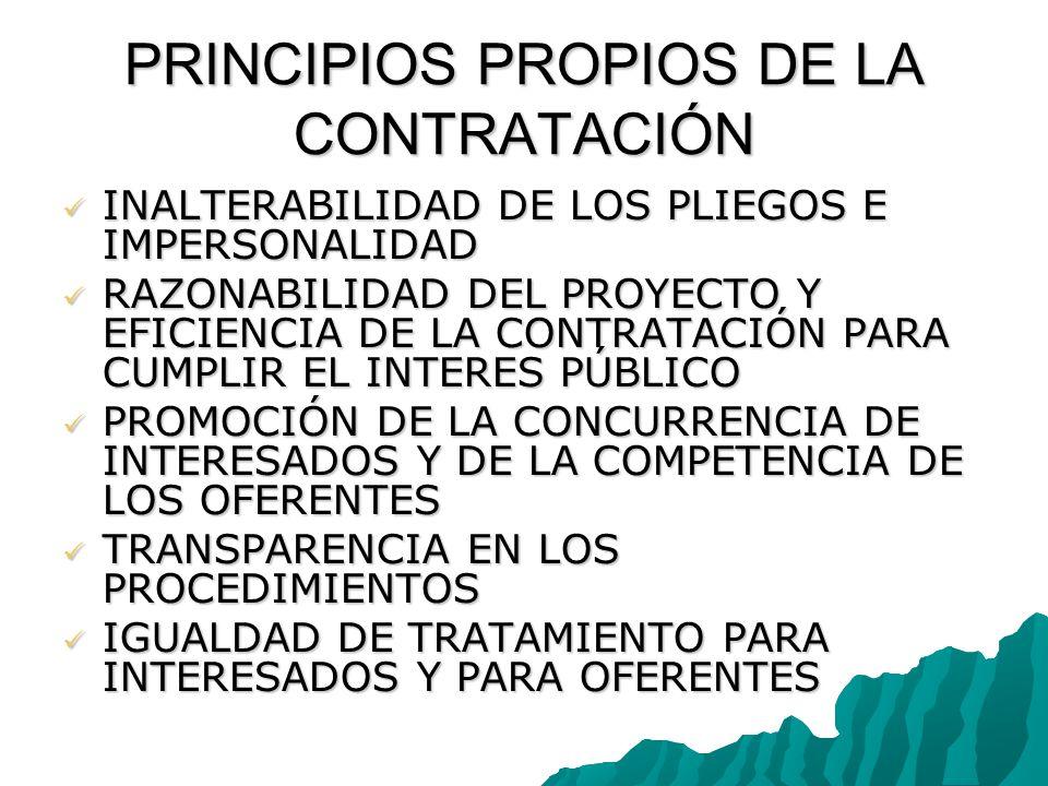 PRINCIPIOS PROPIOS DE LA CONTRATACIÓN
