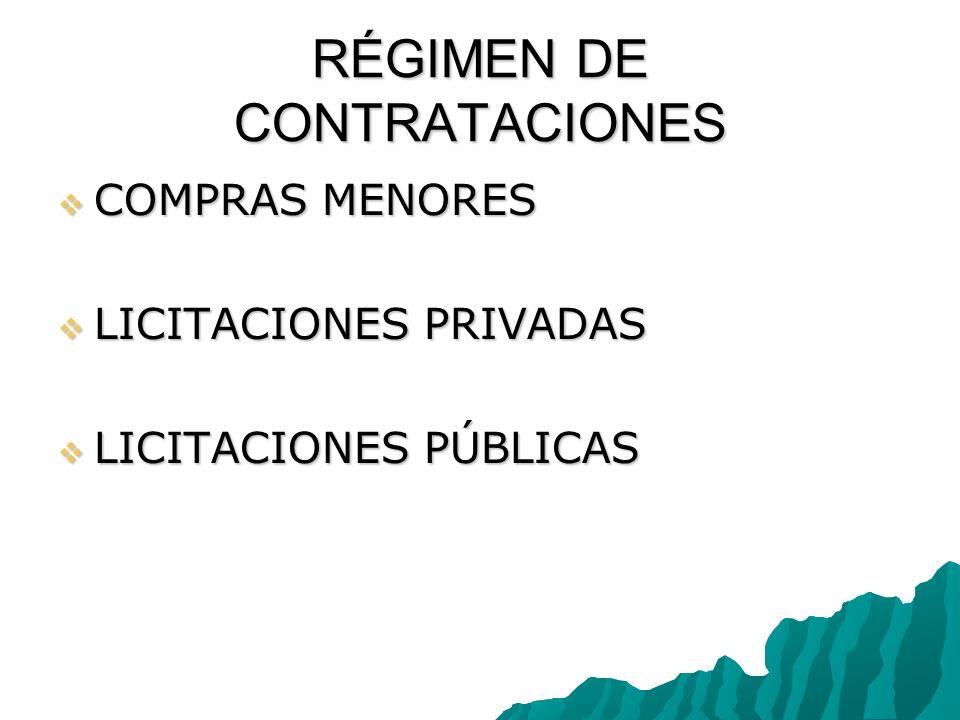 RÉGIMEN DE CONTRATACIONES