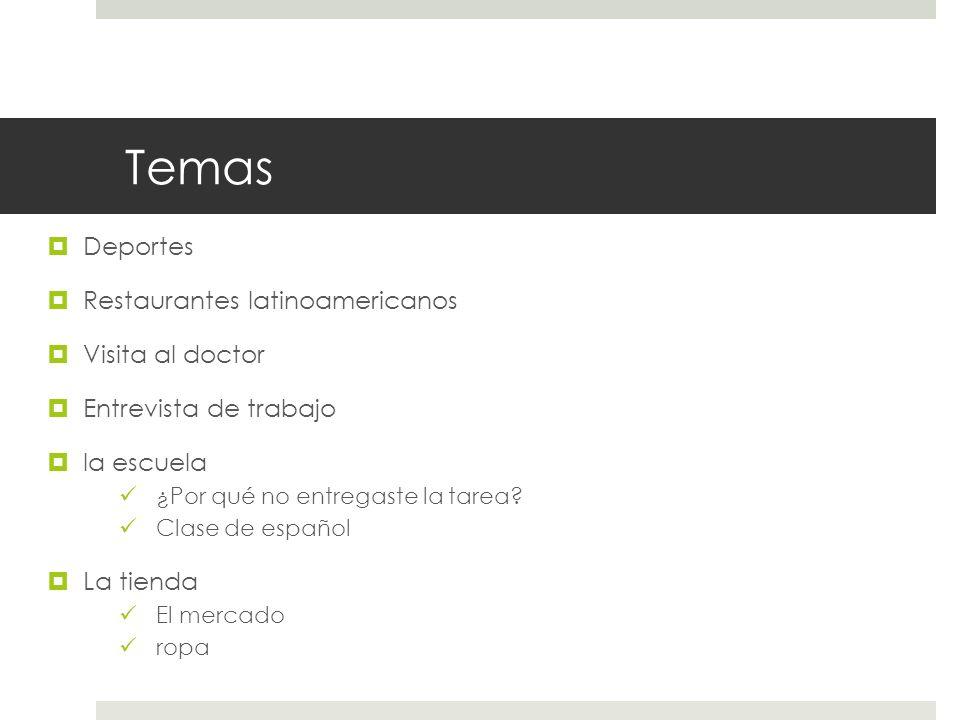 Temas Deportes Restaurantes latinoamericanos Visita al doctor