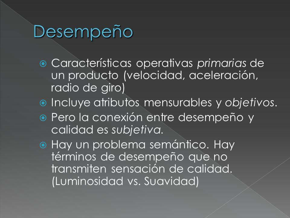 Desempeño Características operativas primarias de un producto (velocidad, aceleración, radio de giro)