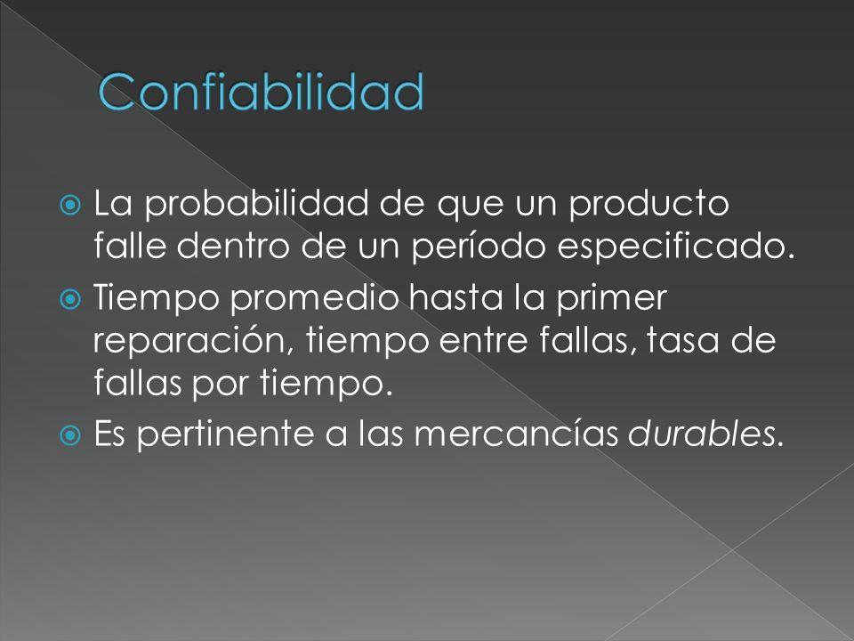 Confiabilidad La probabilidad de que un producto falle dentro de un período especificado.