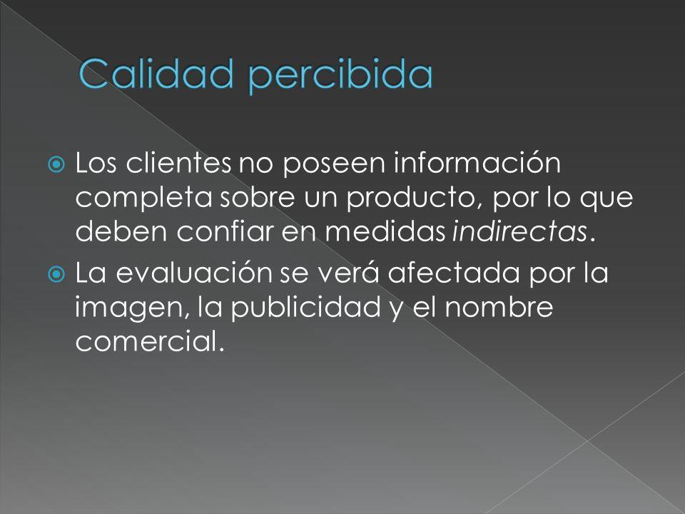 Calidad percibida Los clientes no poseen información completa sobre un producto, por lo que deben confiar en medidas indirectas.