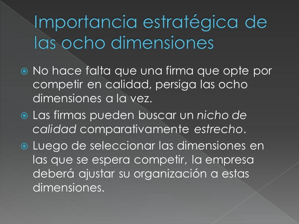 Importancia estratégica de las ocho dimensiones