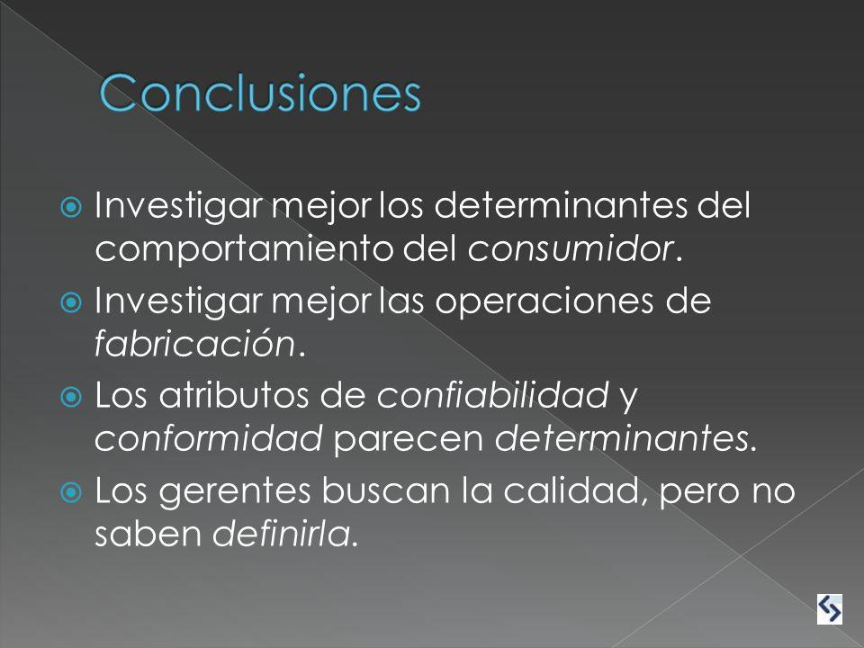 Conclusiones Investigar mejor los determinantes del comportamiento del consumidor. Investigar mejor las operaciones de fabricación.