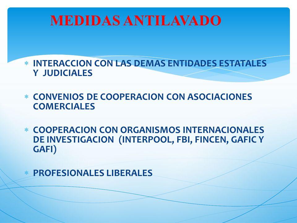 MEDIDAS ANTILAVADO INTERACCION CON LAS DEMAS ENTIDADES ESTATALES Y JUDICIALES. CONVENIOS DE COOPERACION CON ASOCIACIONES COMERCIALES.