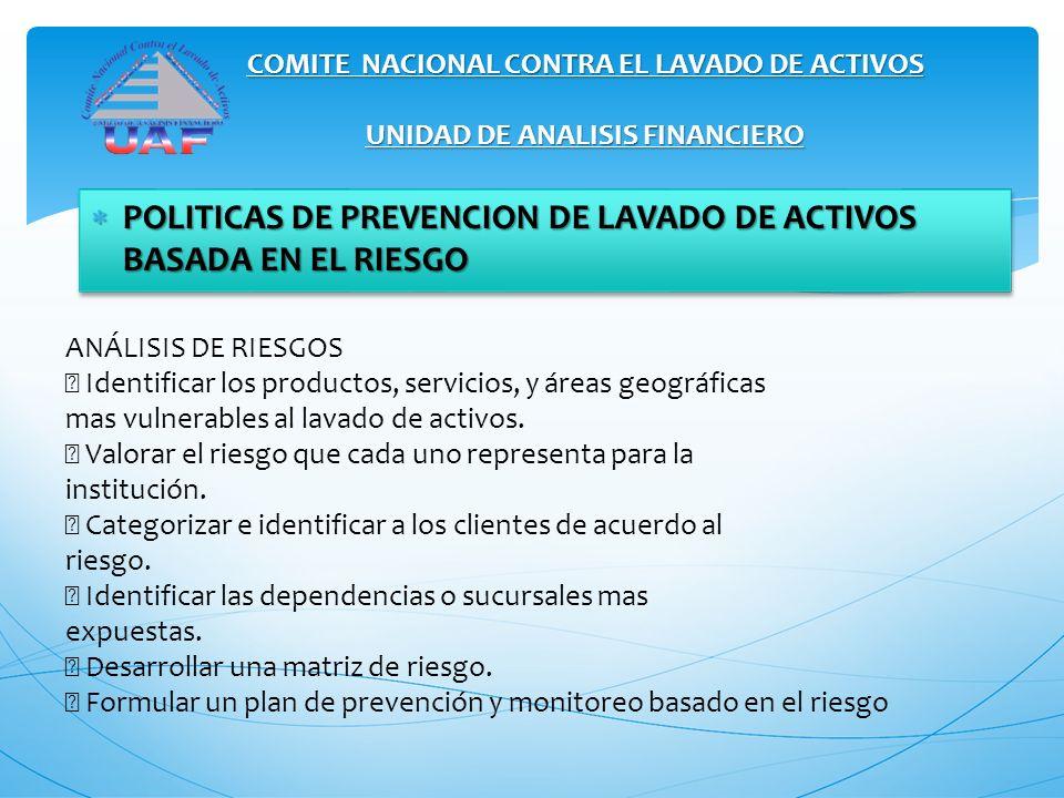 POLITICAS DE PREVENCION DE LAVADO DE ACTIVOS BASADA EN EL RIESGO