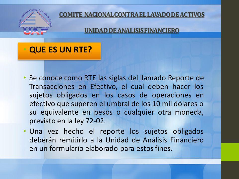 COMITE NACIONAL CONTRA EL LAVADO DE ACTIVOS UNIDAD DE ANALISIS FINANCIERO