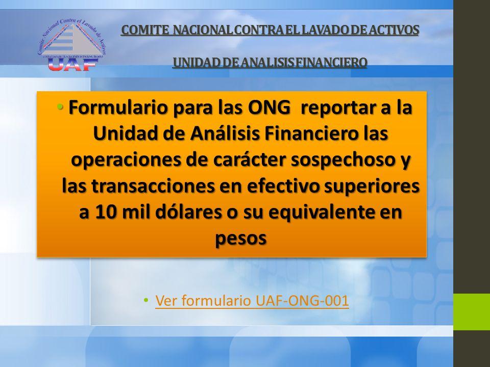 Ver formulario UAF-ONG-001