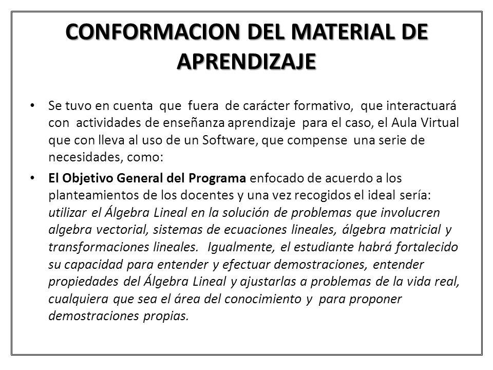 CONFORMACION DEL MATERIAL DE APRENDIZAJE