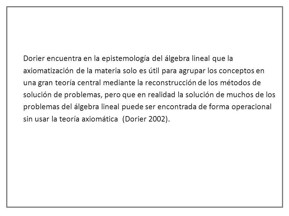 Dorier encuentra en la epistemología del álgebra lineal que la