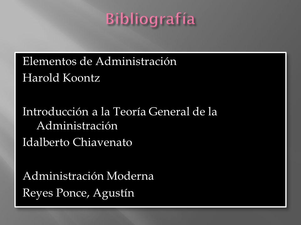Bibliografía Elementos de Administración Harold Koontz