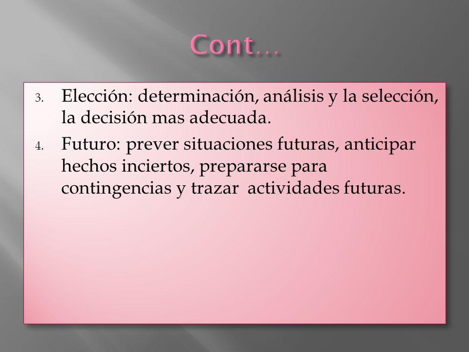 Cont… Elección: determinación, análisis y la selección, la decisión mas adecuada.