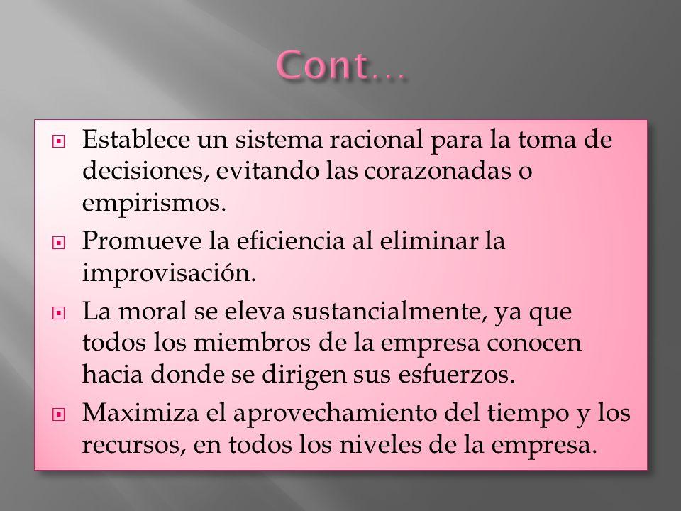 Cont… Establece un sistema racional para la toma de decisiones, evitando las corazonadas o empirismos.
