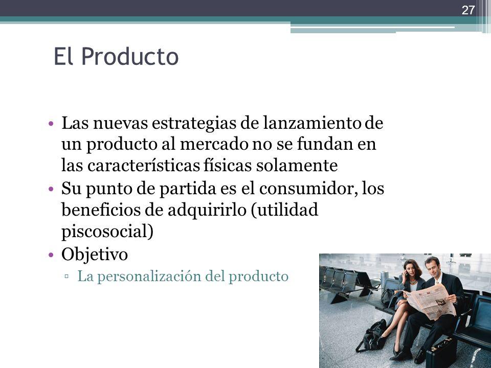 El Producto Las nuevas estrategias de lanzamiento de un producto al mercado no se fundan en las características físicas solamente.