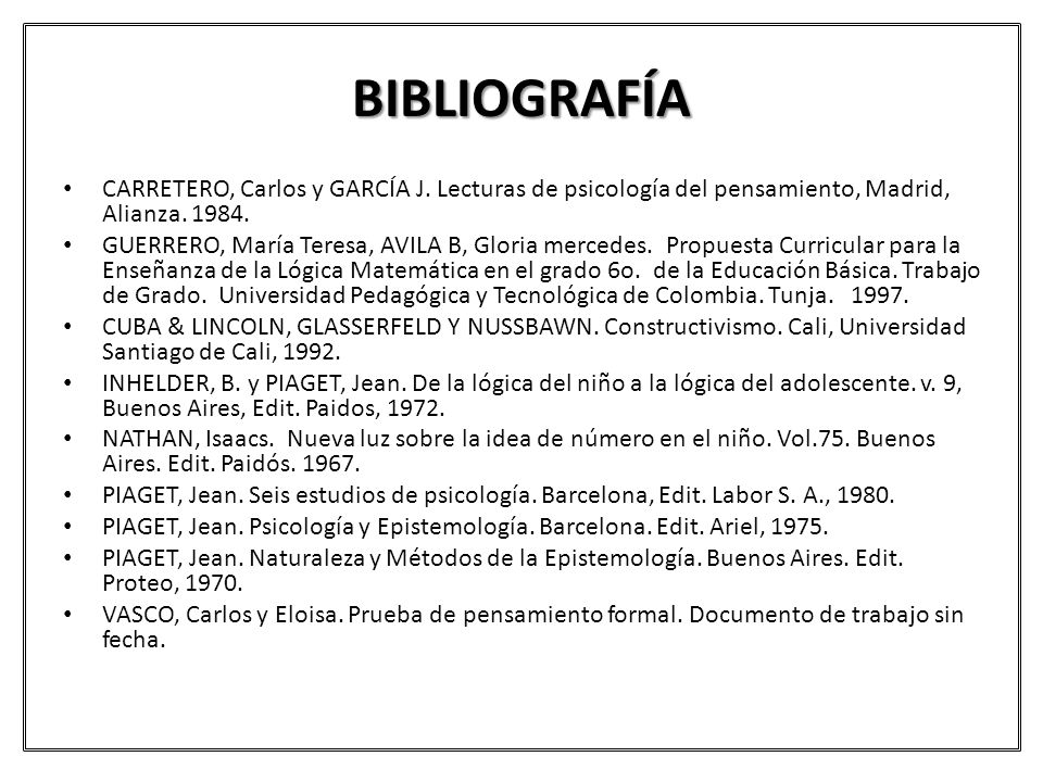 BIBLIOGRAFÍA CARRETERO, Carlos y GARCÍA J. Lecturas de psicología del pensamiento, Madrid, Alianza. 1984.