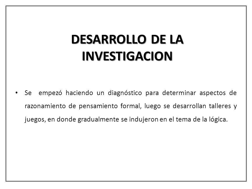 DESARROLLO DE LA INVESTIGACION