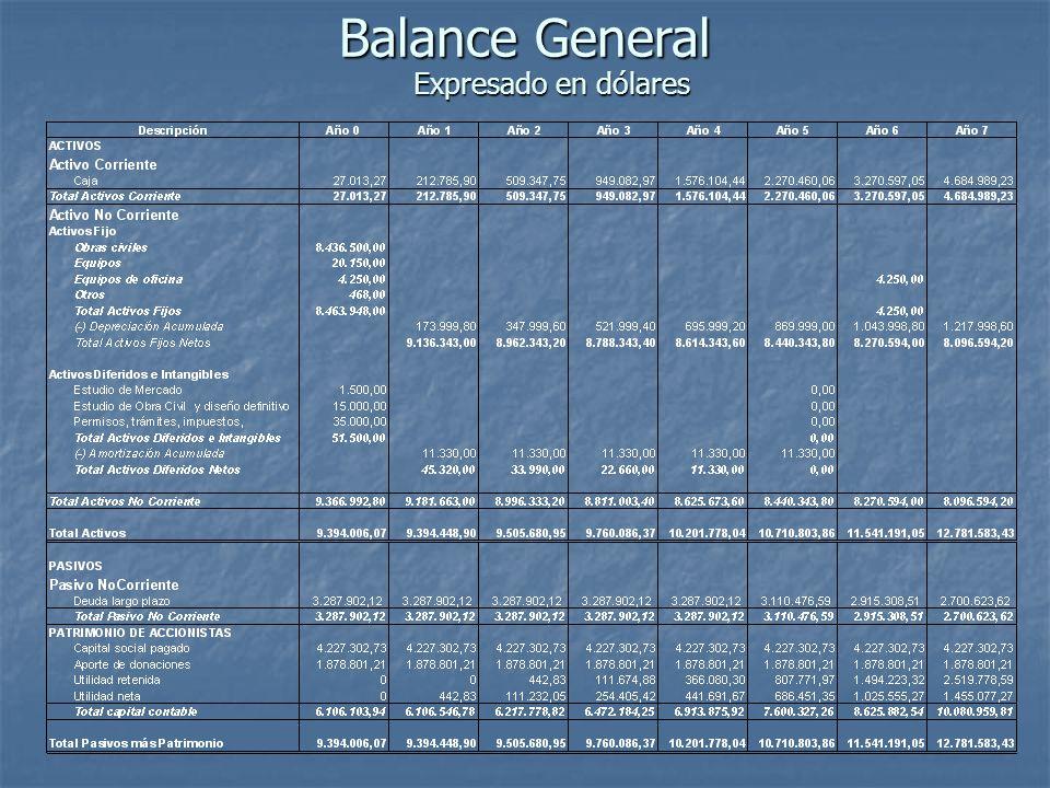 Balance General Expresado en dólares