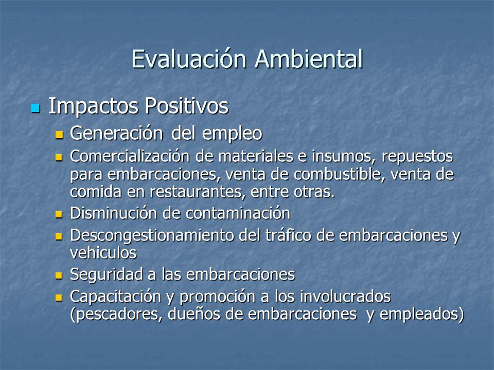Evaluación Ambiental Impactos Positivos Generación del empleo