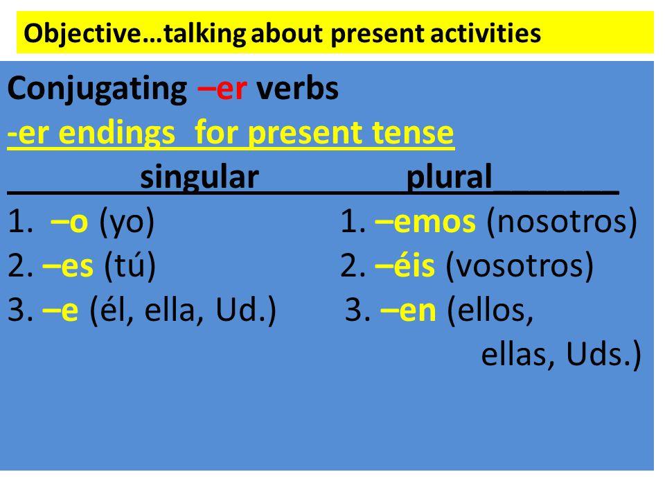 -er endings for present tense singular plural_______