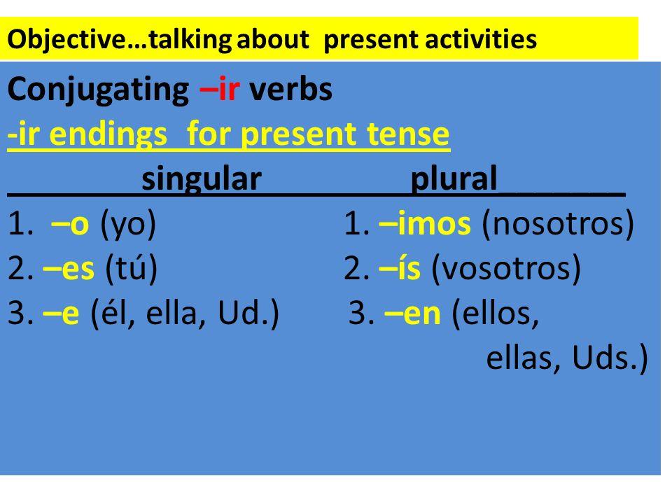 -ir endings for present tense singular plural_______