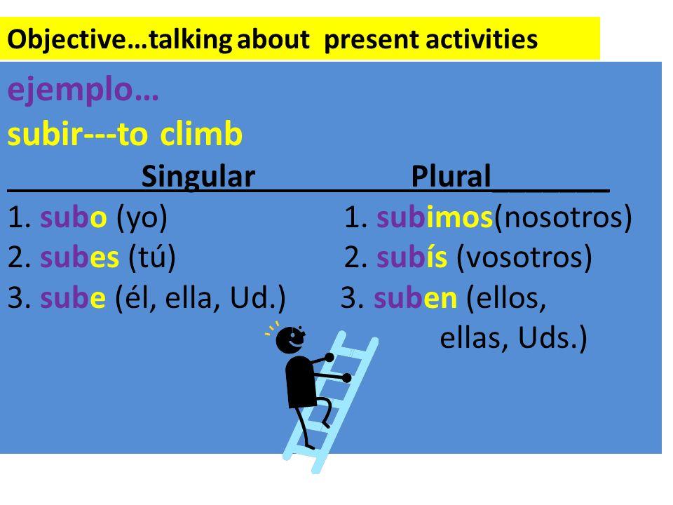 ejemplo… subir---to climb Singular Plural_______